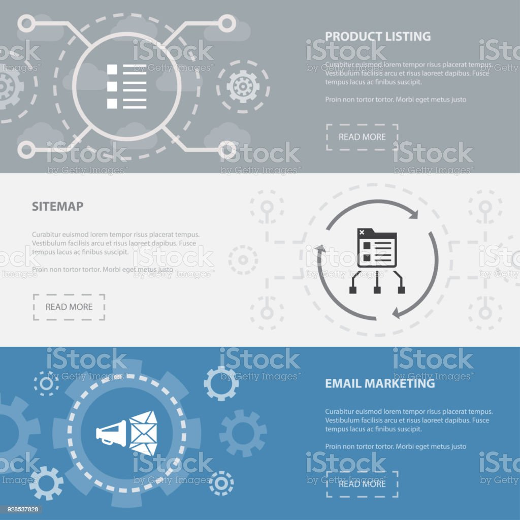 Ecommerce 3 Horizontal Webpage Banners Template With Product Listing ...