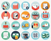Ecommerce and Logistics flat icons
