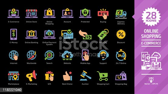 E-commerce and online shopping glyph color icon set on a black background with e-money and e-marketing, digital technology internet business, mobile payment system, web shop buying symbols.