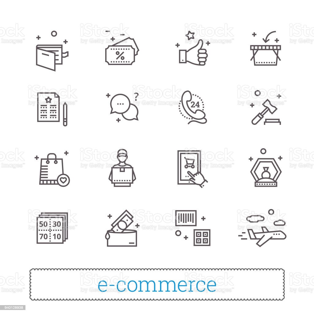 E-commerce and retail shopping thin line icons. On-line shop service signs. Modern vector design elements.