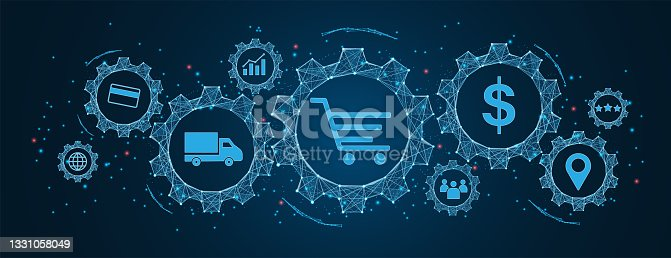 istock e-commerce and shopping online, logistics, transportation concept, buy and sell on Cogs and gear wheel mechanisms wireframe low polygonal blue mesh with dots, lines, and shapes. 1331058049