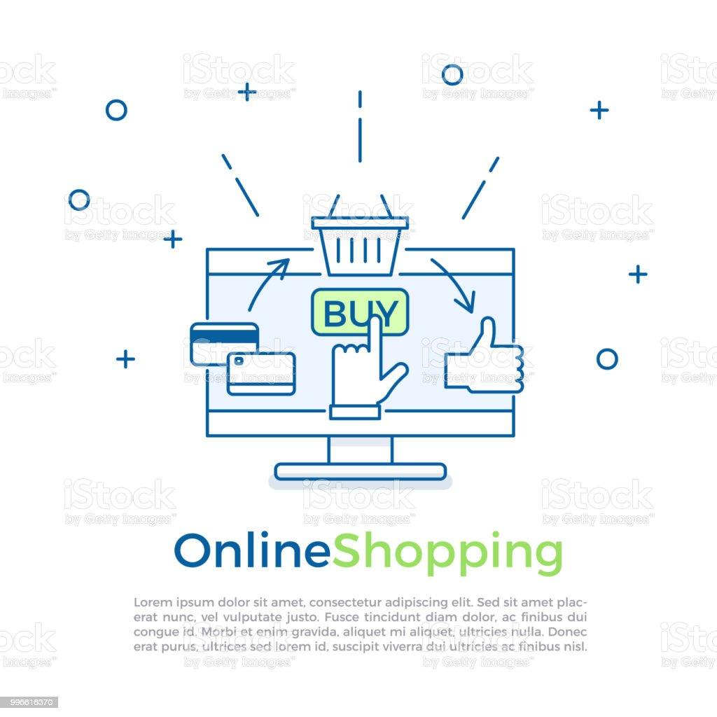 197955d75 Bandeira de fundo de comércio eletrônico. Processo de compra on-line.  Ilustração em
