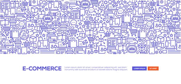 stockillustraties, clipart, cartoons en iconen met e-commerce banner - webshop