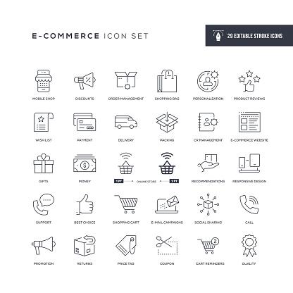 E-Commerce Editable Stroke Line Icons