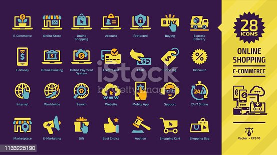 E-commerce, e-money and online shopping yellow glyph icon set on a dark violet background with e-marketing, digital technology internet business, marketplace, mobile payment system and more symbols.