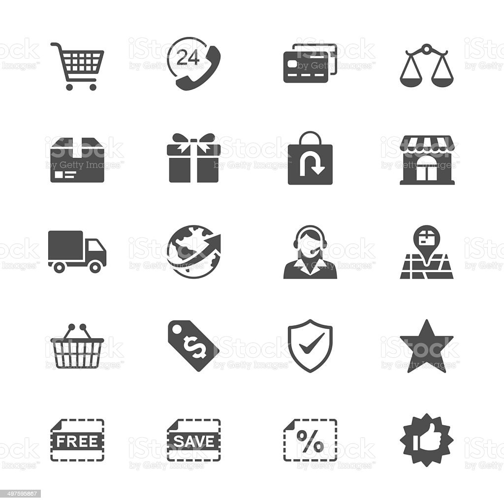 E-commerce flat icons vector art illustration