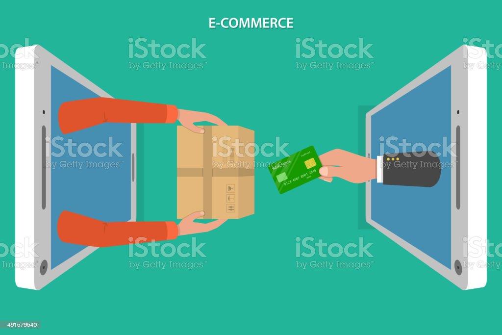 E-commerce flache Vektor-Konzept. – Vektorgrafik