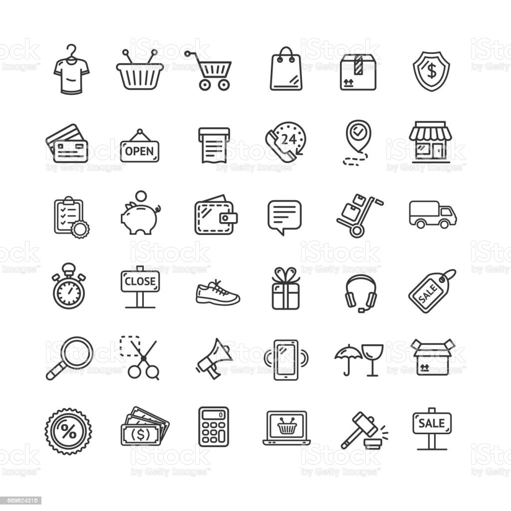 Ecommerce Icon Black Thin Line Set. Vector vector art illustration