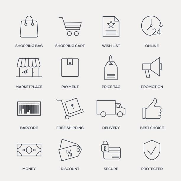 illustrazioni stock, clip art, cartoni animati e icone di tendenza di e-commerce icon set - line series - negozio sci