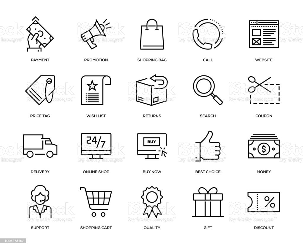 E-Commerce Icon Set - Royalty-free 24 Hrs - Frase Curta arte vetorial