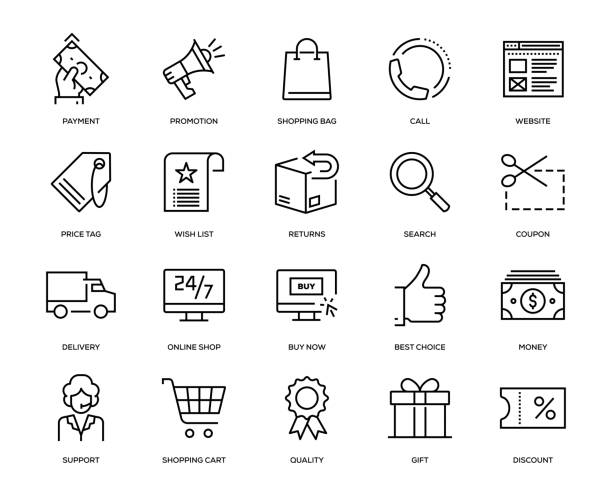 E-Commerce Icon Set E-Commerce Icon Set - Thin Line Series online shopping stock illustrations