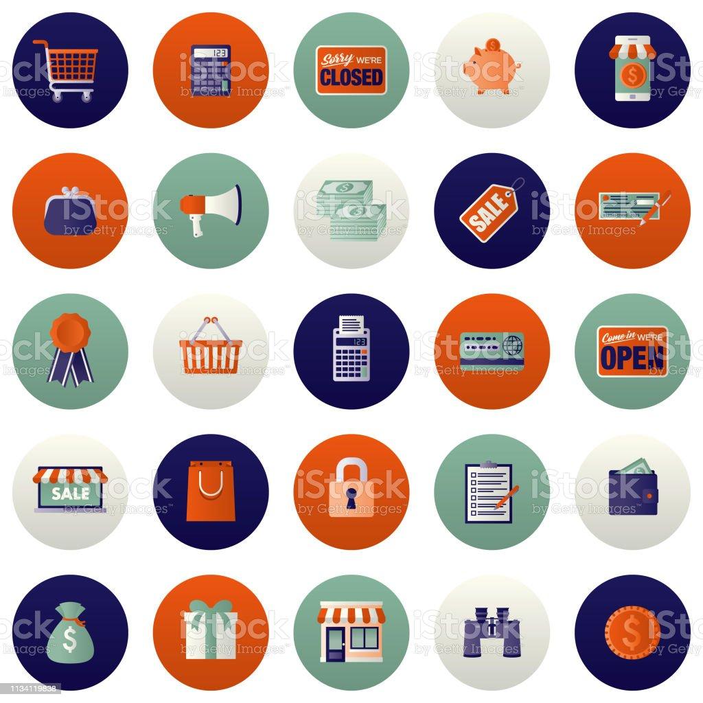 E-Commerce Icon Set vector art illustration