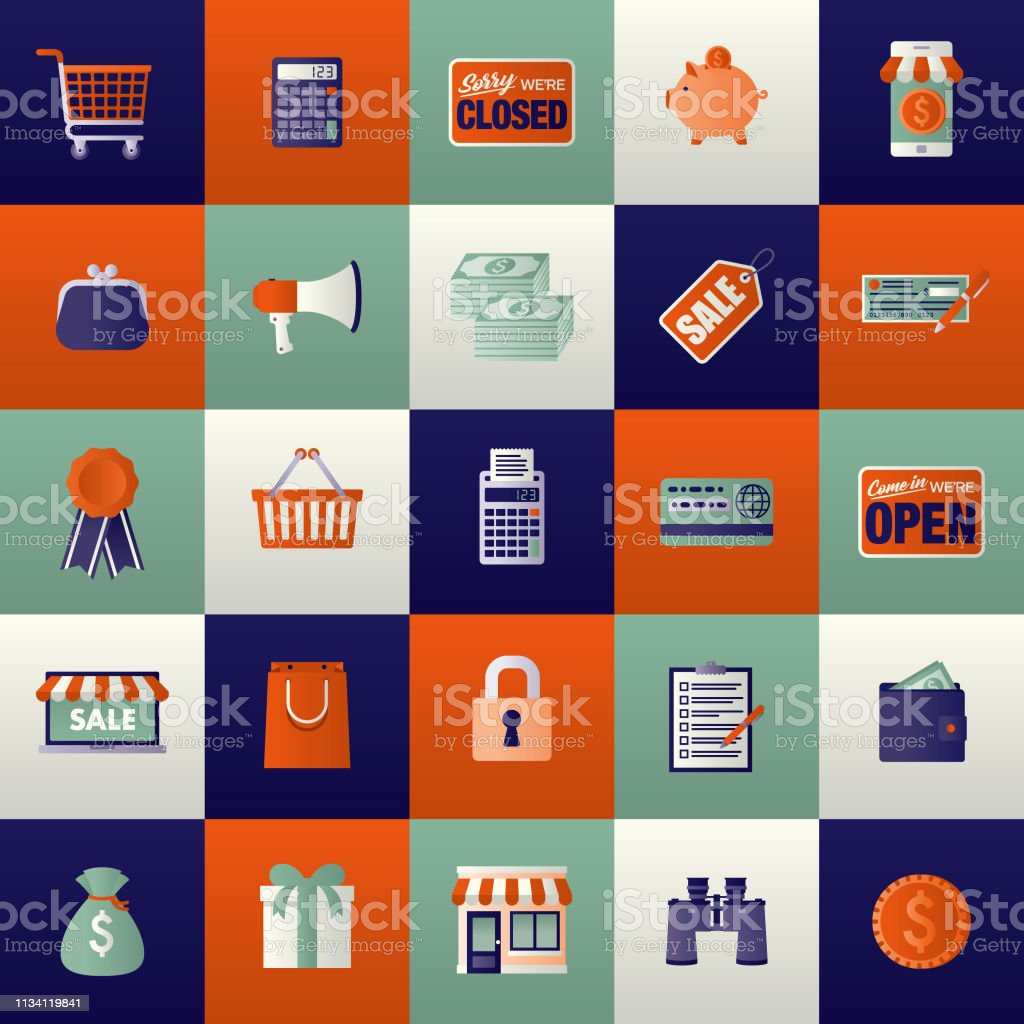 E-Commerce Icon Set vector art illustration