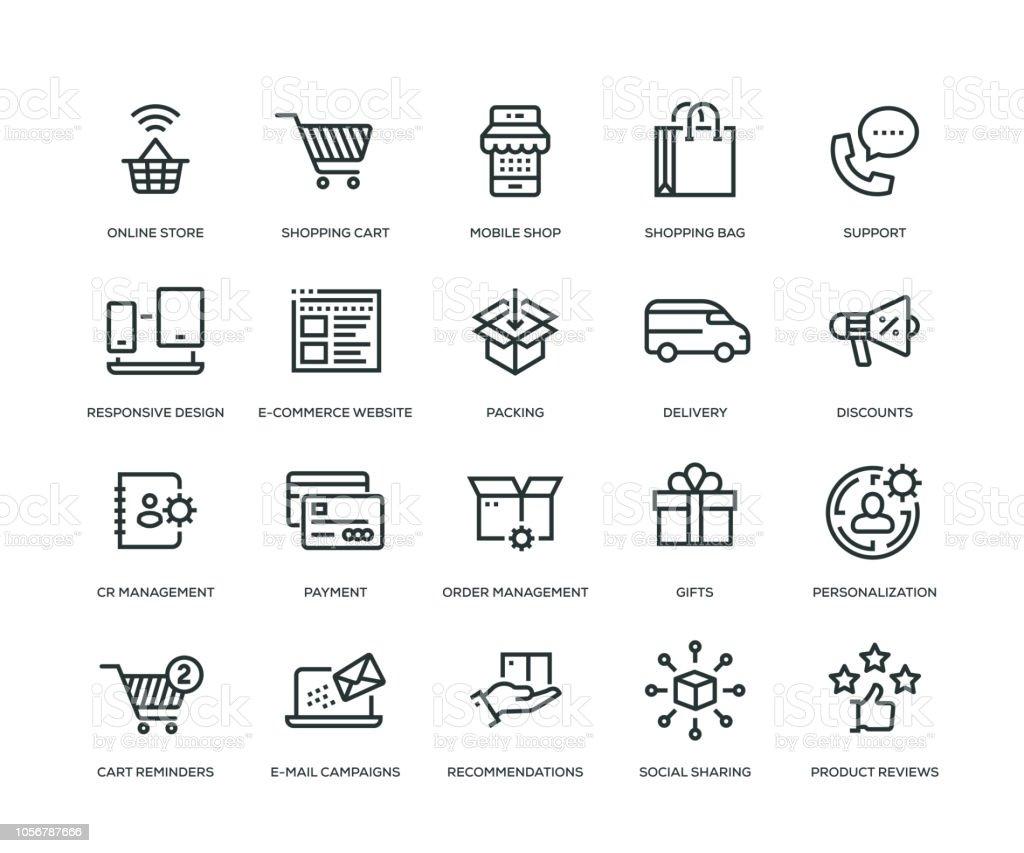 E-Commerce Icons - Line serie - Royalty-free 24 Hrs - Korte frase vectorkunst