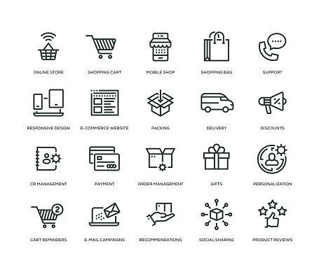 Ecommerce Icons Line Serie Stockvectorkunst en meer beelden van 24 Hrs - Korte frase