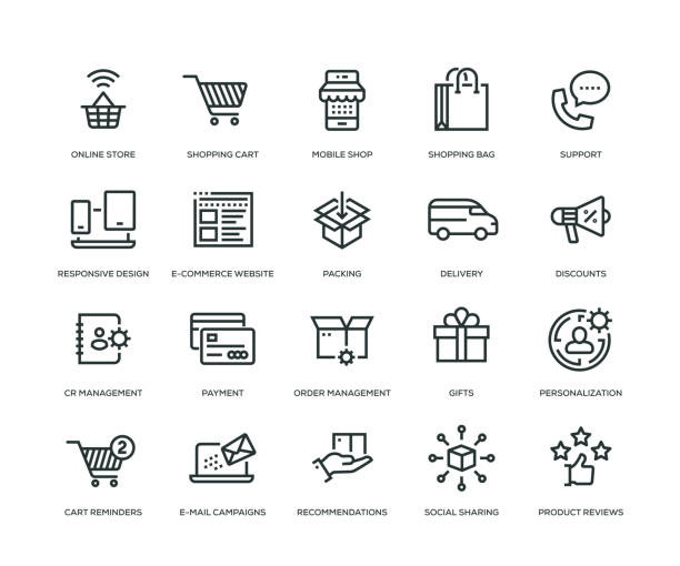 E-Commerce Icons - Line Series E-Commerce Icons - Line Series online shopping stock illustrations