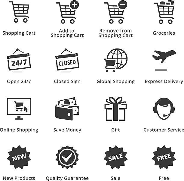 E-commerce Icons - Set 2 This set contains e-commerce icons that can be used for designing and developing websites, as well as printed materials and presentations. online shopping stock illustrations