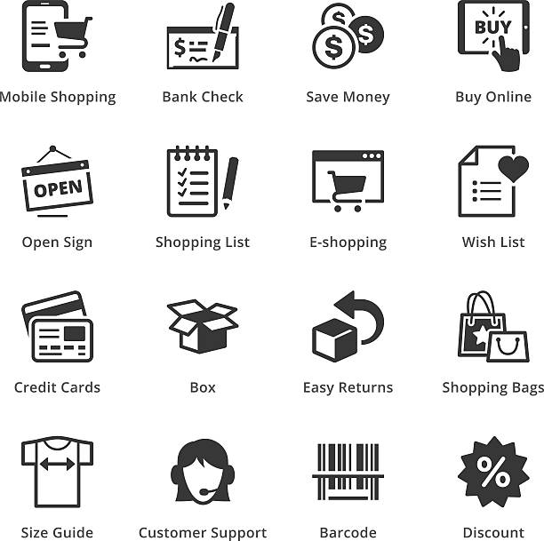E-commerce Icons - Set 3 This set contains e-commerce icons that can be used for designing and developing websites, as well as printed materials and presentations. shopping list stock illustrations