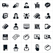 Icons related to eCommerce. The icons symbolize online purchasing, delivery, customer support, buying, shopping online, payment methods, security, and the buying experience. They include a delivery truck, credit card, shopping cart, smartphone, CSR, computer, package, product, box, and tablet PC to name just a few.