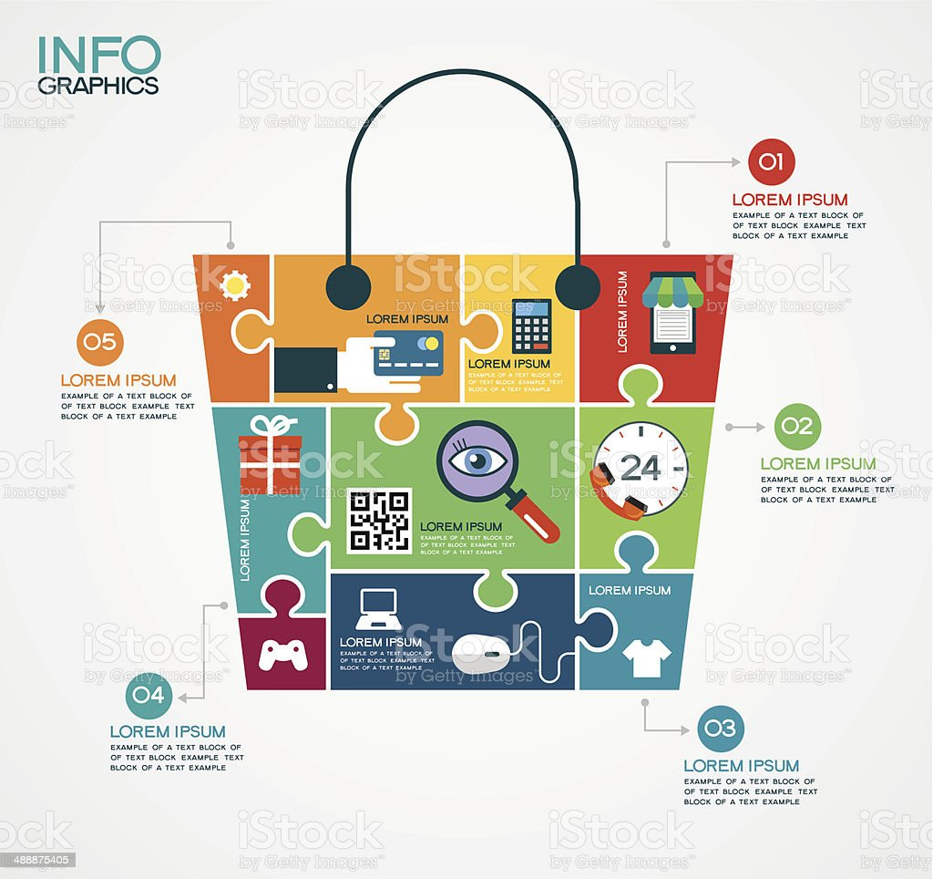 E-commerce infographic Template with bag, puzzle and interface icons vector art illustration