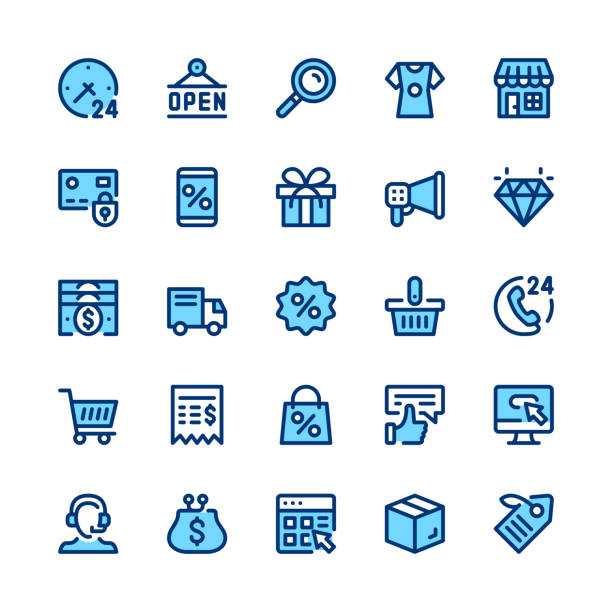 ecommerce, internet commerce, online shopping line icons set. modern graphic design concepts, simple symbols, linear stroke web elements, pictograms collection. minimal thin line design. premium quality. pixel perfect. vector outline icons - handel detaliczny stock illustrations