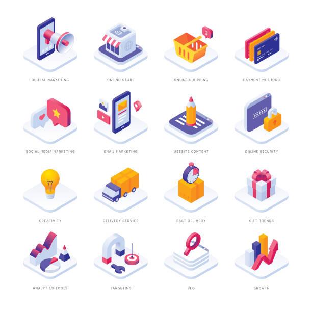 ikony izometryczne e-commerce - rzut izometryczny stock illustrations
