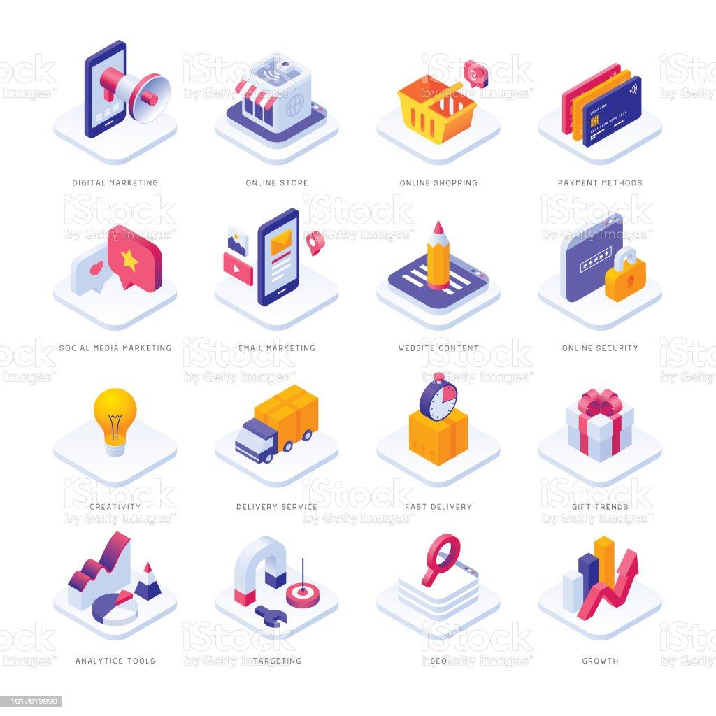 E-Commerce-isometrische Symbole – Vektorgrafik