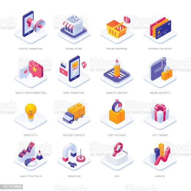 Ecommerce Isometric Icons - Arte vetorial de stock e mais imagens de Analisar