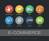 E-Commerce chart with keywords and icons. Flat design with long shadows