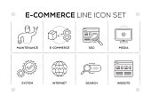 E-Commerce chart with keywords and monochrome line icons