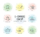 E-Commerce Line Icon Set with Watercolor Patch