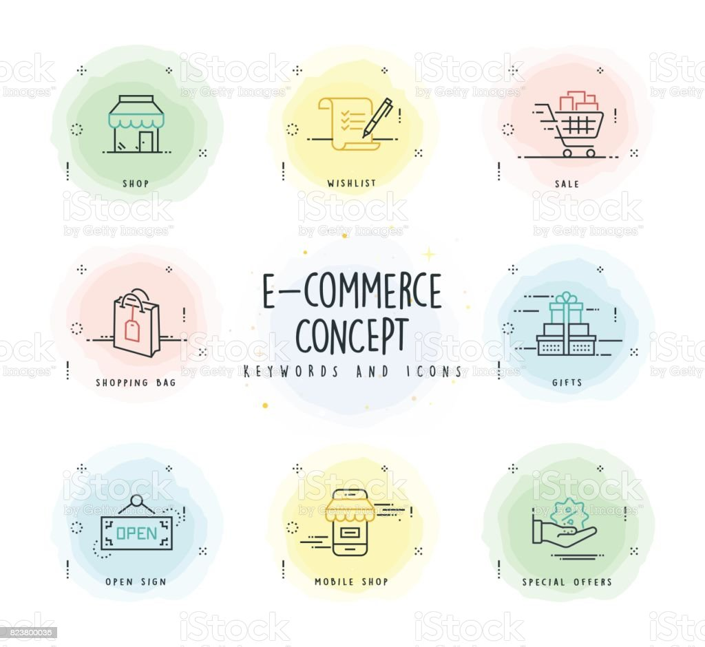 E-Commerce Line Icon Set with Watercolor Patch vector art illustration