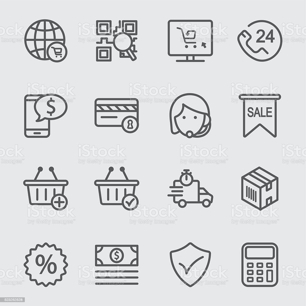 E-commerce line icon vector art illustration
