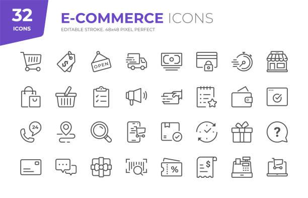 e-commerce-liniensymbole. bearbeitbarer strich. pixel perfekt. - konsum stock-grafiken, -clipart, -cartoons und -symbole