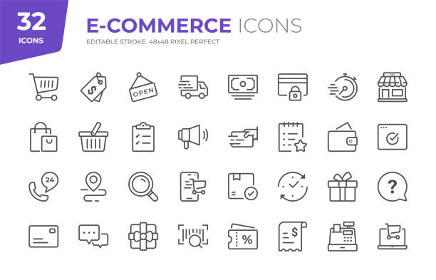 E-Commerce Line Icons. Editable Stroke. Pixel Perfect. 32 E-Commerce Outline Icons - Adjust stroke weight - Easy to edit and customize shopping stock illustrations