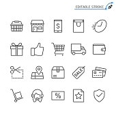 E-commerce line icons. Editable stroke. Pixel perfect.