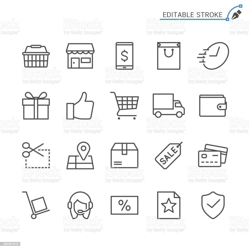 E-commerce line icons. Editable stroke. Pixel perfect. vector art illustration