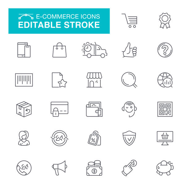 e-commerce line icons - shopping stock illustrations, clip art, cartoons, & icons