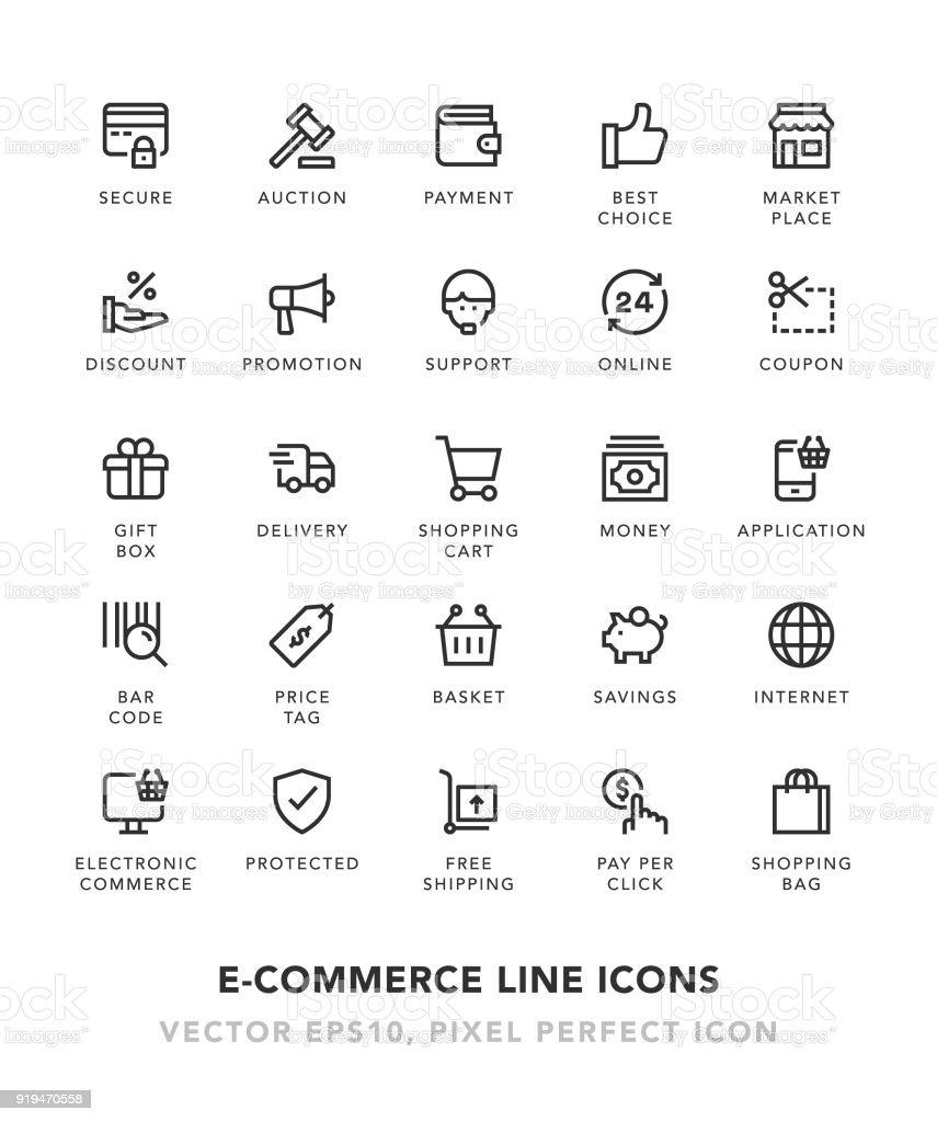 Linie E-Commerce Icons – Vektorgrafik