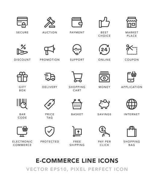 stockillustraties, clipart, cartoons en iconen met e-commerce lijn pictogrammen - webshop