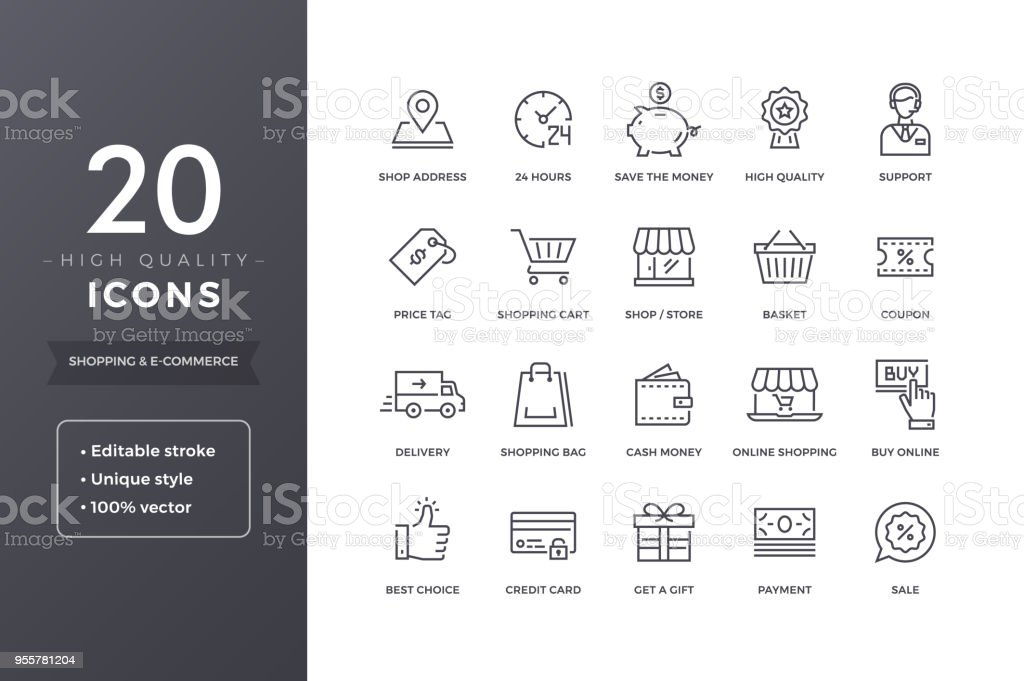 E-commerce Line Icons - Royalty-free 24 Hrs - Frase Curta arte vetorial