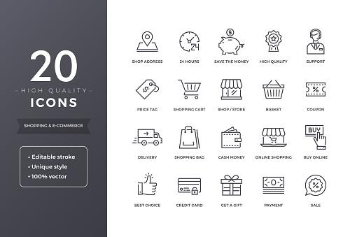 Ecommerce Line Icons - Stockowe grafiki wektorowe i więcej obrazów 24 Hrs - Angielski zwrot