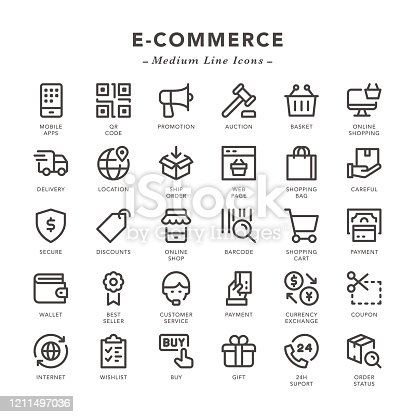 E-Commerce - Medium Line Icons - Vector EPS 10 File, Pixel Perfect 30 Icons.