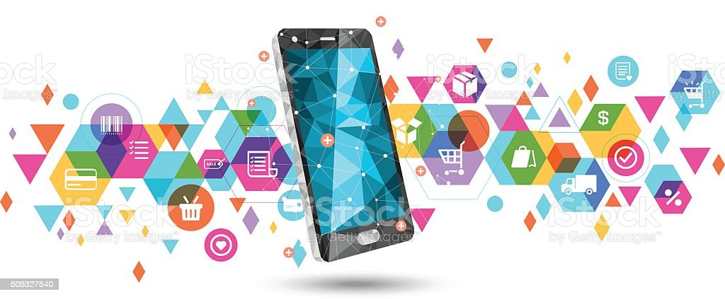 E-Commerce on smartphone vector art illustration