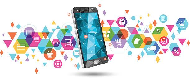 e-commerce on smartphone - e commerce stock illustrations, clip art, cartoons, & icons