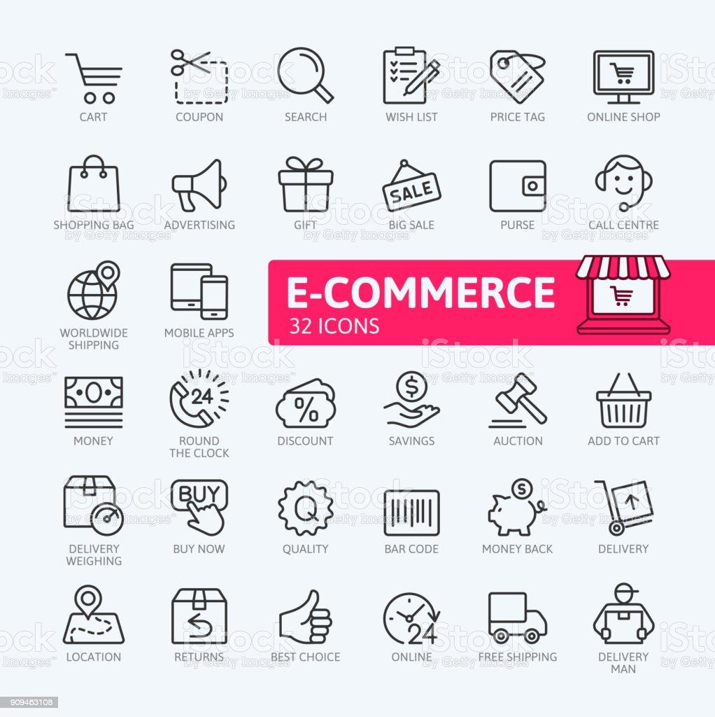 E-commerce, compras en línea y entrega - colección de iconos de contorno - ilustración de arte vectorial
