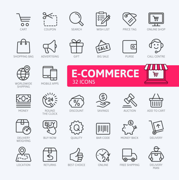 e-commerce, online shopping and delivery - outline icons collection - thin line icons stock illustrations, clip art, cartoons, & icons