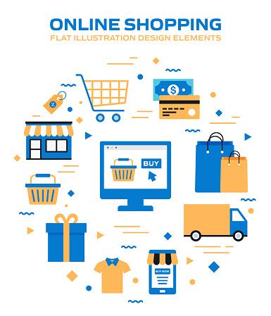 E-Commerce, Online Shopping, Digital Marketing Related Modern Vector Illustration