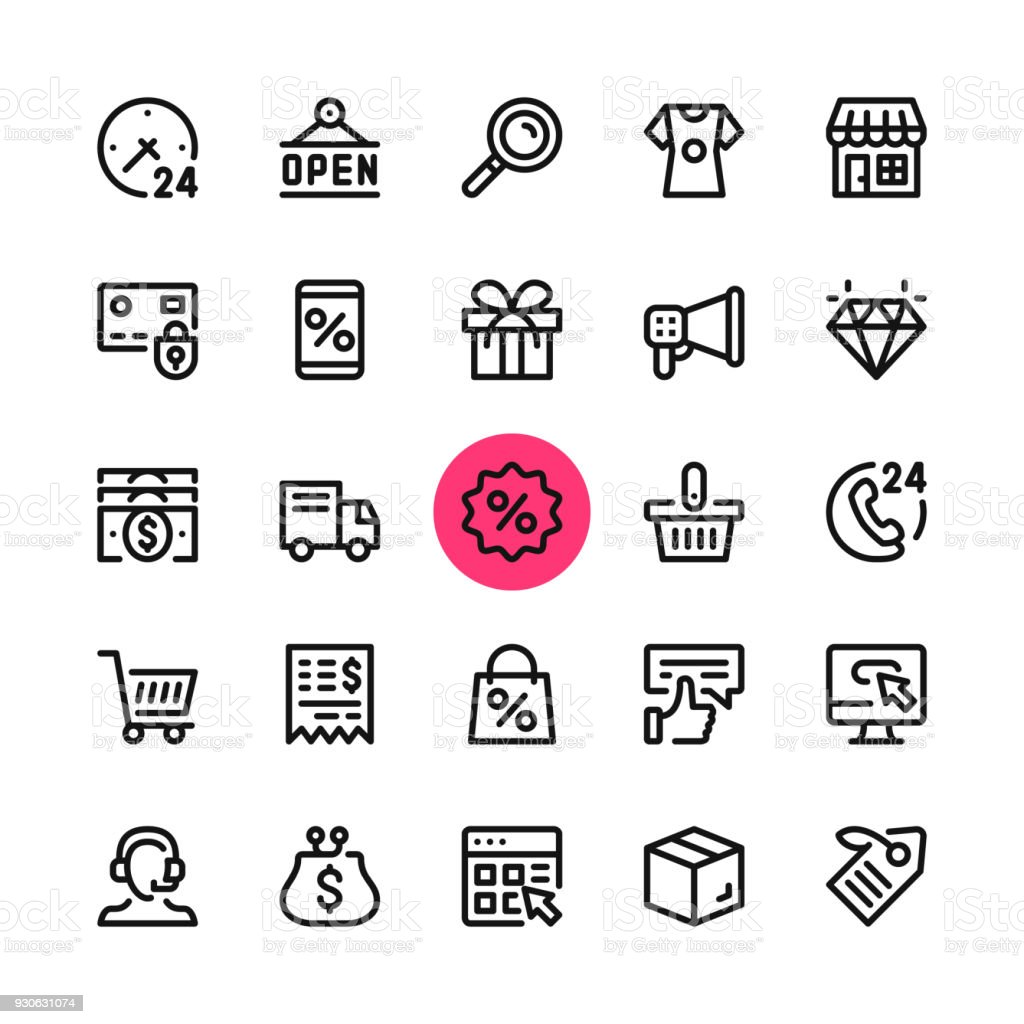E-commerce, online shopping, ecommerce line icons set. Modern graphic design concepts, simple outline elements collection. 32x32 px. Pixel perfect. Vector line icons vector art illustration