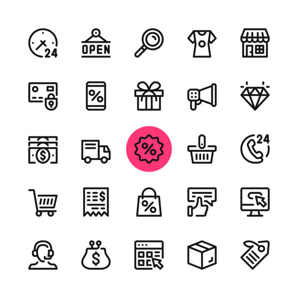 e-commerce, online shopping, ecommerce line icons set. modern graphic design concepts, simple outline elements collection. 32x32 px. pixel perfect. vector line icons - handel detaliczny stock illustrations